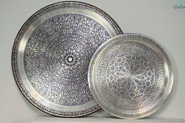 Orientalische Tabletts silber matt
